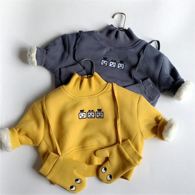 Infantil clothing gola além de veludo espessamento masculino criança do sexo feminino camisola bebê dos desenhos animados clothing outerwear do inverno