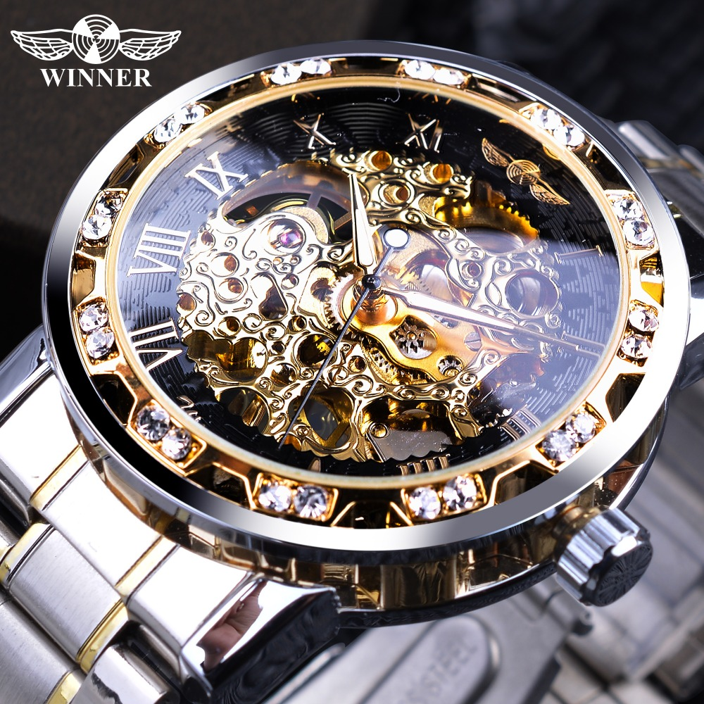 Winner Transparent Fashion Diamond Display Luminous Hands Gear Movement Retro Royal Design Men Mechanical Skeleton Wrist Watches(China)