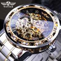 Relojes de pulsera de esqueleto mecánico para hombre con diseño real Retro con movimiento de engranajes luminosos con pantalla de diamante de moda transparente
