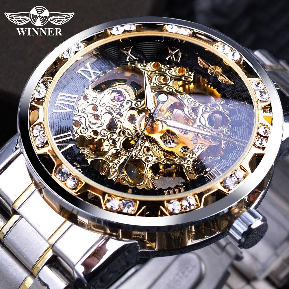 Vencedor Transparente Moda Diamond Display Luminoso Mãos Movimento Da Engrenagem Retro Royal Design Homens Esqueleto Mecânico Relógios De Pulso