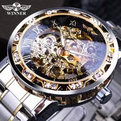 Победитель Прозрачный мода Diamond Дисплей светящиеся стрелки Шестерни двигаться Для мужчин t Ретро Королевский дизайн Для мужчин