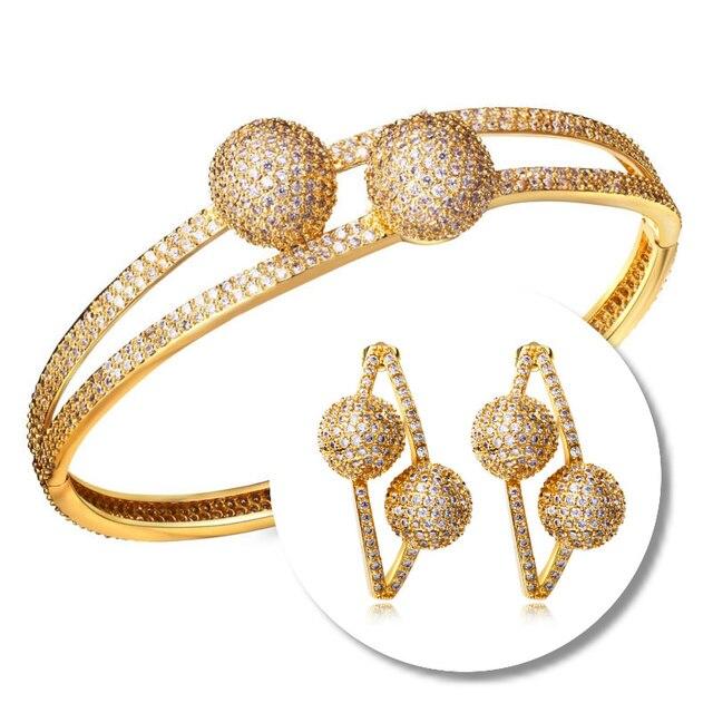 Trendy Luxe Double Balls Design Micro Pave Zircon Gold Rhodium color