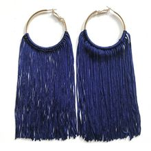 Free Shipping Navy Dark Red Exaggerated European And American Style Long Tassel Hoop Earring