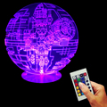Free Shipping 1Piece Star Wars Death Star Magical LED Lamp 3D Effect Night Light Remote Contolled Decorative Lighting For Gifts