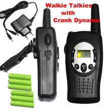 2PC Crank Dynamo Walkie Talkies pair TS088 UHF frequency portable wind-up radio comunicador w/ batteries charger for emergency