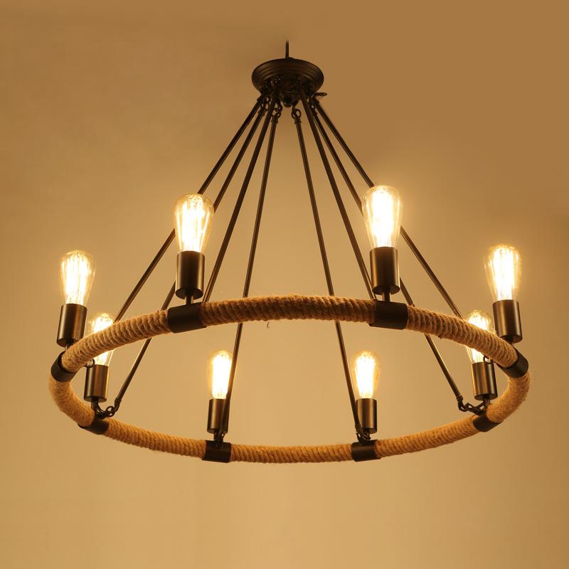 Loft Stil American Industrial 8 Licht Schwarz Farbe Hanfseil Pendelleuchte Wohnzimmer Lampe Caf Bar