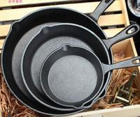 Raw Ore Cast Iron Pot Thicken Deepen No Coating Mini Flat Bottom Pot Small Frying Pan Apply to Gas and Induction Cooker