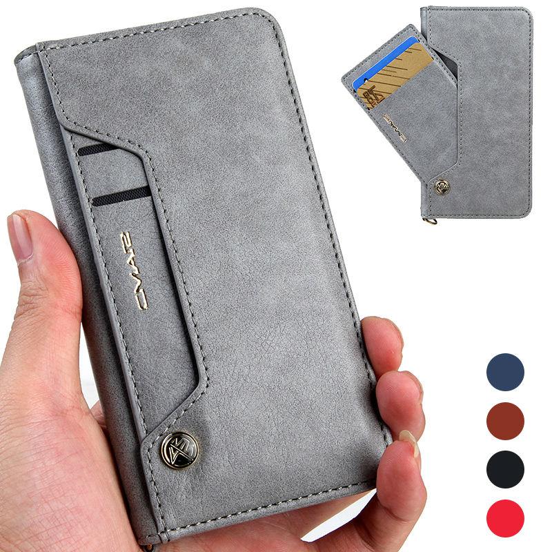 Face Titulaire de la Carte Magnétique Flip Book Stand De Luxe Housse En Cuir pour iPhone X 8 7 6 S Plus pour Samsung S8 Plus S7 Bord Note8