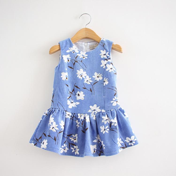ФОТО Vest Dress For Girl Print Flower Sleeveless Good Quality Cotton Children Spring Summer Clothes Kids 2-10 Yrs