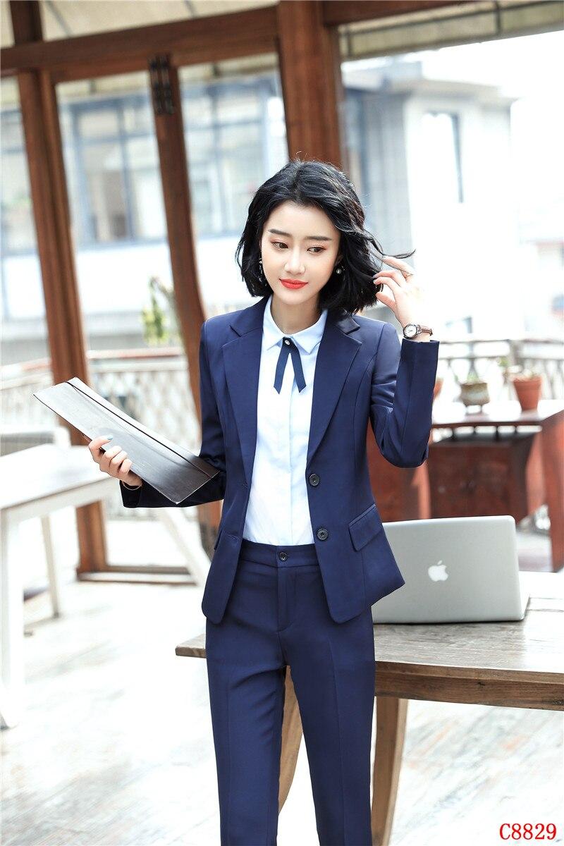 Marine Uniformes Bleu Costumes Ensemble Dames Formelle Femmes Bureau Pantalons Vêtements Blazer Ol Styles Travail D'affaires De Fp7PnqO74
