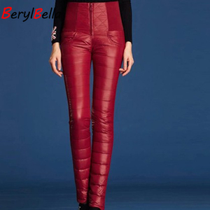 Image 2 - BerylBella Winter Women Pants  Casual High Waist Zipper Slim Double Faced Duck Down Warm Black Bule Pencil Pants Trousers