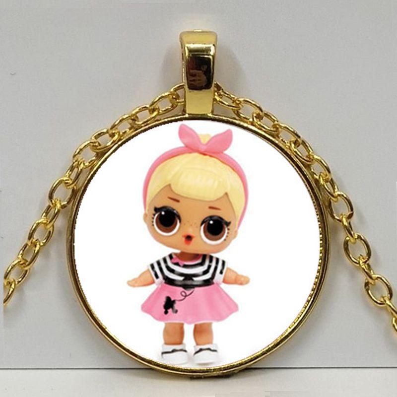 Мультяшное ожерелье с изображением куклы милое детское блестящее платье принцессы куклы стеклянные ожерелья аниме для детей подарок на день рождения - Окраска металла: Gold 5