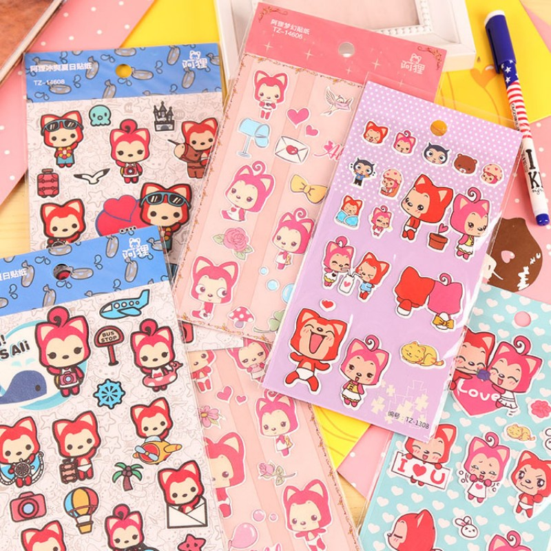 3 pcs/lot Kawaii Red fox 3D Bubble stickers paper decoration DIY scrapbooking sticker children favorite stationery Free shipping