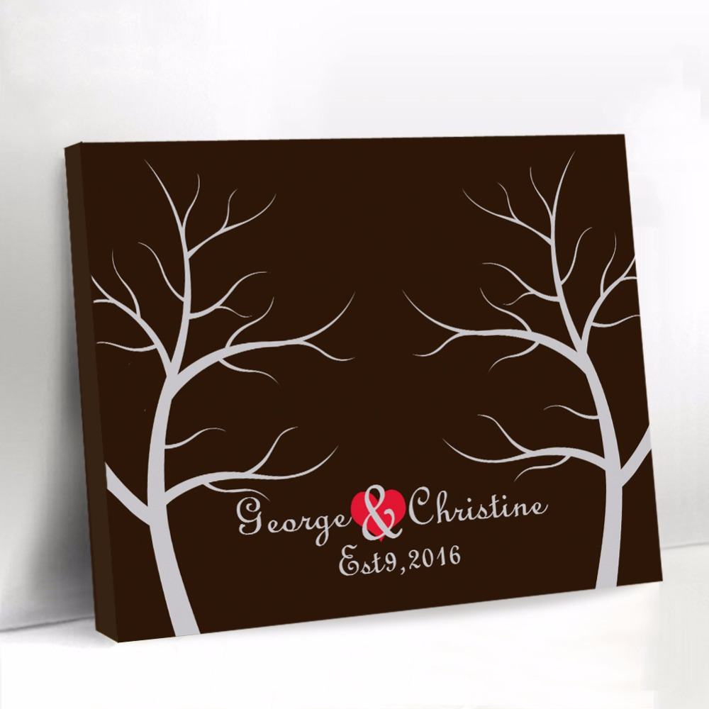 Personalized Wedding Guest Book with Red Heart Black Canvas Fingerprint Tree Guest Book Baby Shower Sign Book Party Decorations