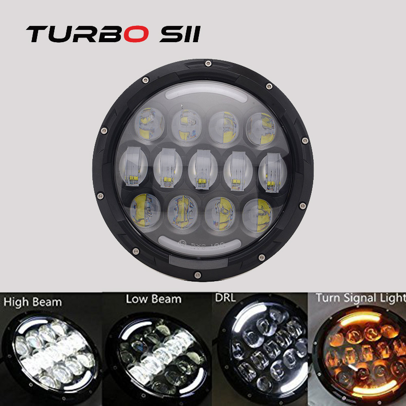 TURBO SII 7 inch 78W Round LED Headlight Motorcycle Projector Angle Eye Black Hi/Lo Beam DRL Amber Yellow 12v 24v  Bike IP67 1pcs 5 75 inch led motorcycle projector daymakers 5 75 inch headlight for harleys dyan h4 hi lo beam lights lamp bulb angle eye