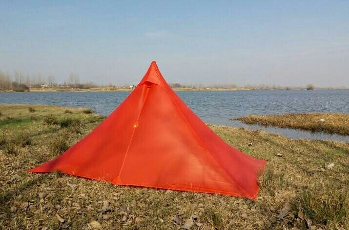 ASTA Ultralight 1 Person Tent High Quality 15D 20D 2 Side Nylon Silicone Pyramid Fly of Outdoor Camping Tent 265*170*135cm 995g camping inner tent ultralight 3 4 person outdoor 20d nylon sides silicon coating rodless pyramid large tent campin 3 season