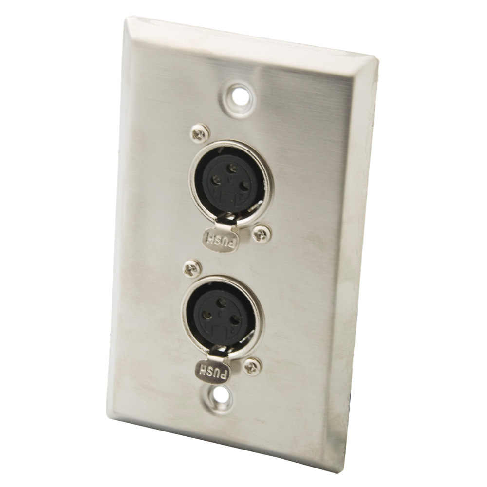 Single Gang Stainless Steel Wall Plate with Dual XLR Male Plug