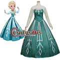 Adult Elsa Princess Dress Snow Queen Dress Costume Cosplay Green Version Wedding Party Ball Gown Dress