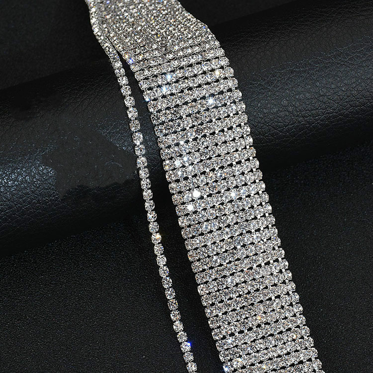 Eleple Fashion Long Multi layer Full Stone Stainless Steel Necklaces Women Luxury Trendy Nightclub Party Gifts Jewelry S N615 01 in Chain Necklaces from Jewelry Accessories
