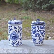 Chinese blue and white porcelain ornaments decorative ceramic porcelain vase decorations southeast wind tank