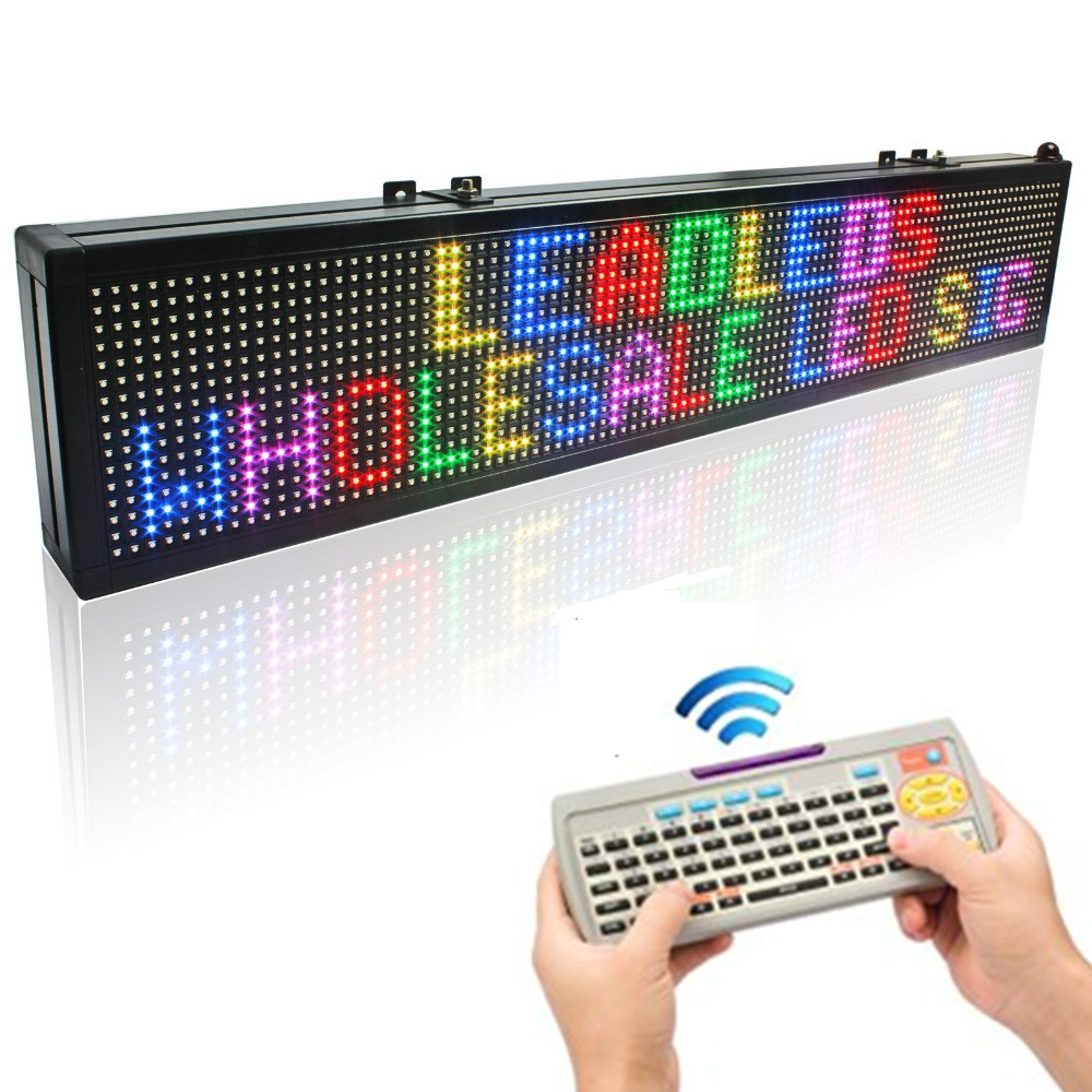 40 X 6-in 16*128pixel Remote Keyboard Full-Color RGB LED Sign Rolling Information P7.62 Indoor Led Display Screen