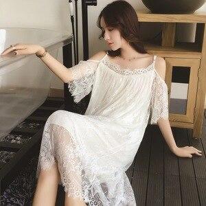 Image 3 - Lisacmvpnel Elegant Long Section Women Nightgown Solid Spaghetti Strap Lace Female Nightdress