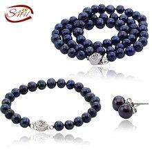 SNH 2016 6-7mm potato AA 925 reales de plata de la joyería de perlas cultivadas collar Cultivado genuino pulsera y aretes