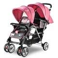 Nova Marca de Luxo Carrinho de Criança Gêmeo Carrinho de Bebê Pode Sentar e mentir Assento Duplo Carrinho de Bebê Gêmeos de Alta Paisagem Carrinho Duplo carrinho de bebê