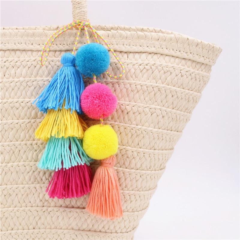 LZHLQ Brand Colorful Pompones Cute Pom Pom Tassels Pompom For Women Purse Accessories Fashion Jewelry Bag Decoration Pendant colorful pom pom trim slub tee