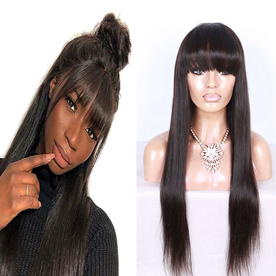 lace front closure wig with bangs