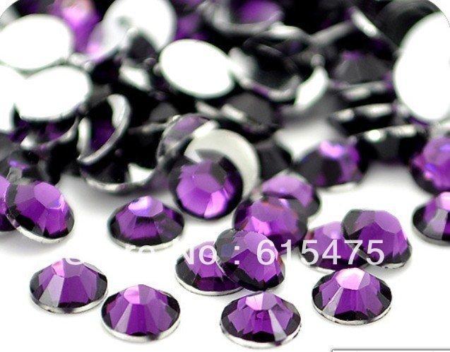 6mm Ametista Cor SS30 strass Resina cristal Prego flatback Art Pedrinhas, 10,000 pçs/saco