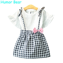 Humor Bear Filles Vêtements Marque Filles Vêtements Ensembles Enfants Vêtements Bowknot Motif Enfant Fille Tops + Jupe 2 PCS Costume 3-7Y