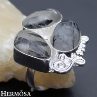 Classic Fashion Jewelry RUTILATED QUARTZ 925 Sterling Silver Engagement Party Banquet Rings 9 HM497