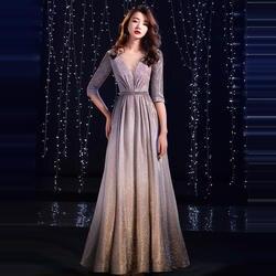 Это YiiYa вечернее платье 2019 v-образным вырезом Pleat Блестящий Половина рукава Серый Пол Длина Вечерние платья TR007 A-Line robe de soiree