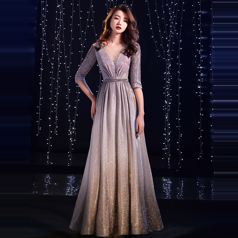 It's YiiYa   Evening     Dress   2019 V-neck Pleat Shiny Half Sleeve Gray Floor-length Dinner Gowns TR007 A-line robe de soiree