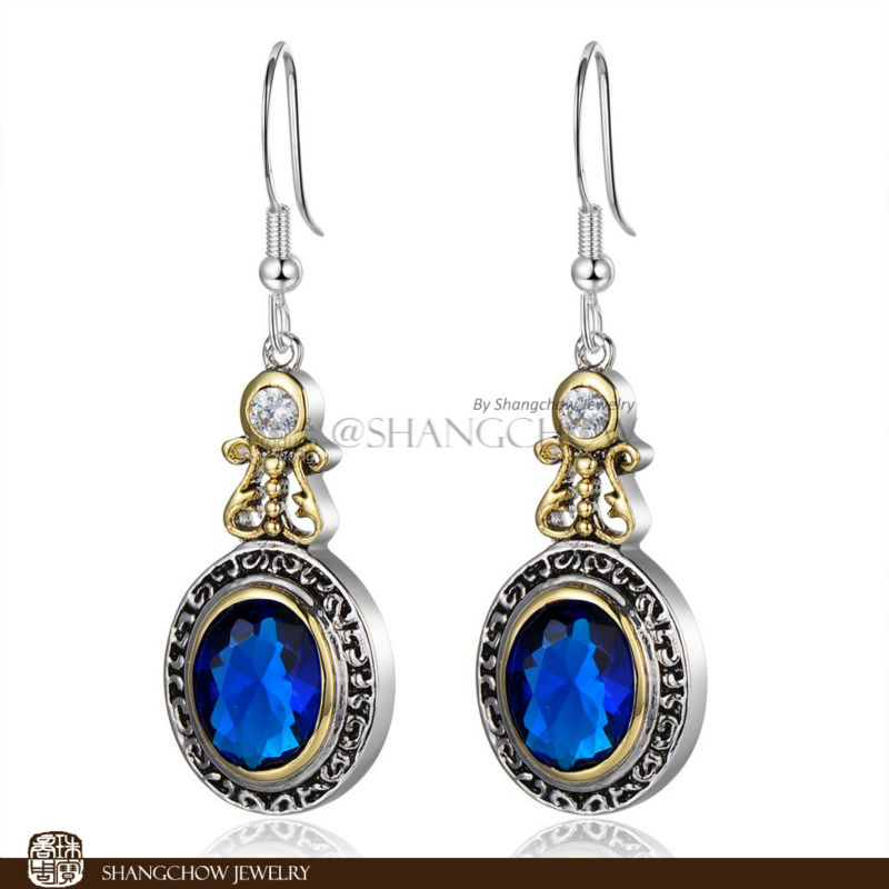 New! Stunning Fashion Jewelry Blue 925 Sterling Silver Earrings E0363