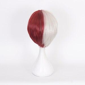 Image 3 - Anime My Hero Academia Boku no Hiro Akademia Shoto Todoroki Shouto White And Red Cosplay Wig+Wig Cap