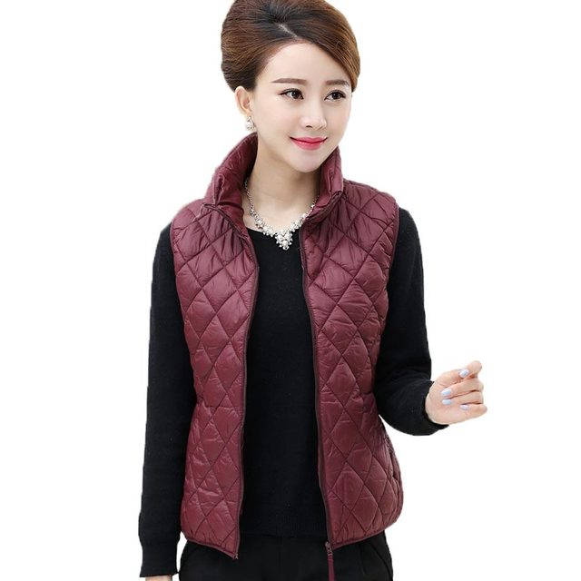 2016 New Women Cotton Padded Vest Casual Autumn Winter Jacket Middle Aged Plus Size L-5XL Argyle Sleeveless Waistcoat PW0186