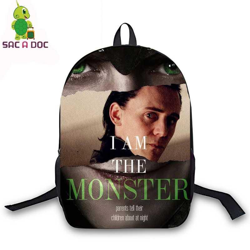 Tom Hiddleston Loki Avengers Backpack Children School