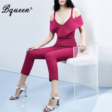 Bqueen 2019 New Women Fashion Office Lady Sexy Off The Shoulder V Neck Long Pants Party Club Bodycon Casual Rose Red Jumpsuit(China)