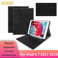 Kemile For iPad 9.7 2018 Case Keyboard W Pencil holder Smart Protective Stand Cover For iPad 9.7 2017 Air 2 Russian Keyboard