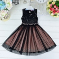 Summer Girl O-neck Sleeveless Sequined Bow Ball Gown Party Dresses one Piece Daily Vestido