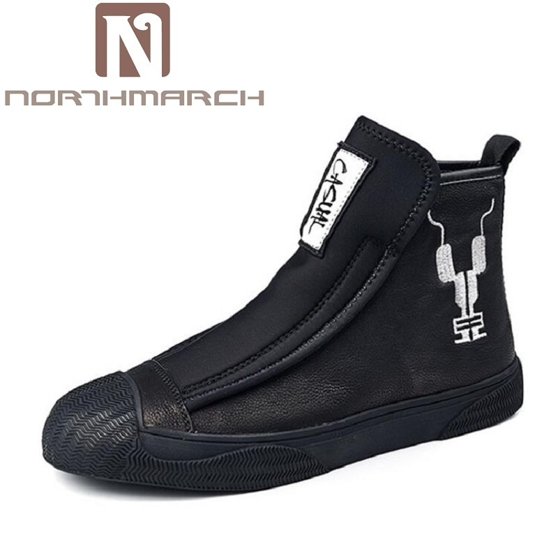 цена NORTHMARCH Genuine Leather Men Ankle Boots Brand Martin Boots Man Leather High Top Shoes Autumn Winter Outdoor Casual Shoes Men