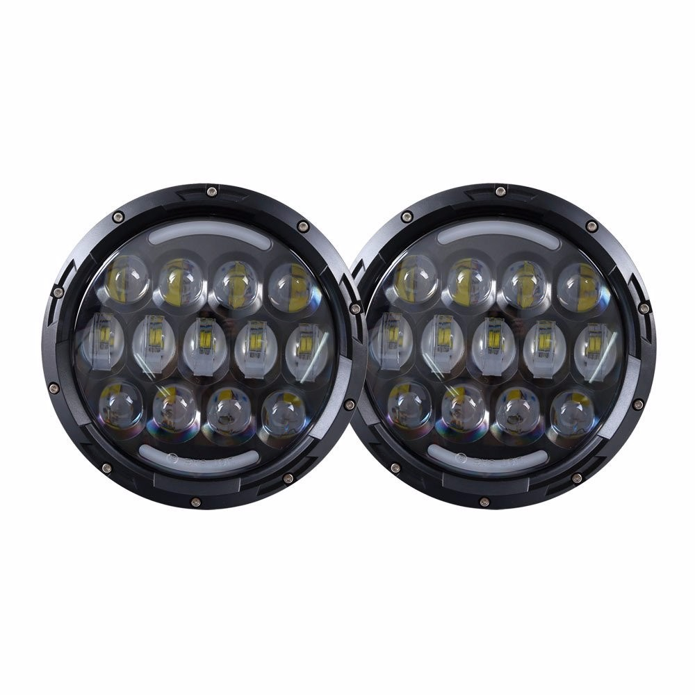 Pair 7 Inch 78W Black Round LED Headlight with High Low Beam DRL for Offroad Jeep Wrangler JK TJ Harley Motorcycle 1pcs 7 80w headlamp led headlight with drl for jeep wrangler jk tj fj harley off road lights high low beam new free shipping