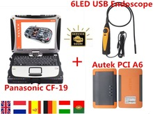 Original Autek PCI A6 Diagnostic Tool+6 LED Car Diagnostic USB  Endoscope+Toughbook CF19 Car Diagnostic laptop