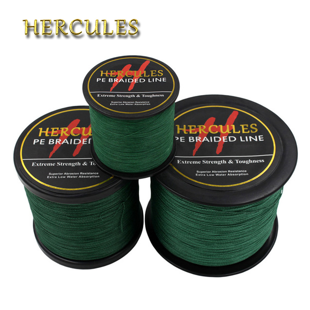 Hercules PE Braided Fishing Line Green Multifilament Fishing Cord Strong Saltwater 4 Strands 100M 300M 500M 1000M 1500M 2000M