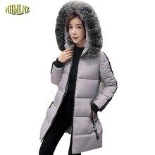 2017 Корейской версии Зимой Высокого Качества Женской Моде Куртки Тонкий Теплый С Капюшоном Средней длины Женщин Хлопка-ватник ok46