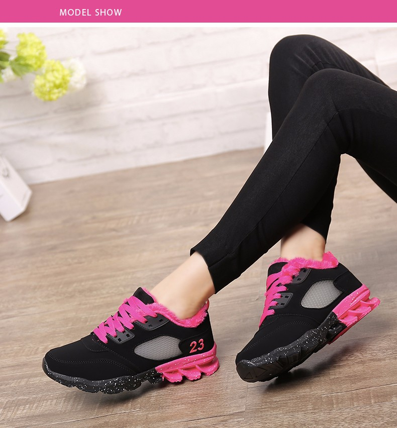 2017 Fashion Winter Women Casual Shoes Plush Warm Sport Low Top Women Shoes Black Pink Breathable Lace Up Woman Trainers YD165 (15)