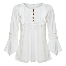 Elegant Ruffles Women Tops Plus Size Flare Sleeve Solid Casual Loose Shirt