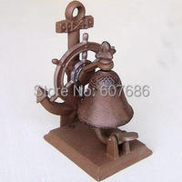 CAST IRON- Boat Anchor Tabletop Bell Ship Wheel Rustic Brown Nautical Decor Service/ Hotel/ Desk/ Dinner Bell Free Shipping